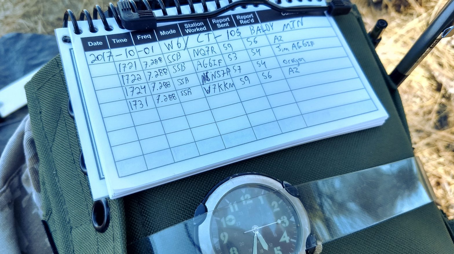 Logbook pages from a Summits on the Air activation